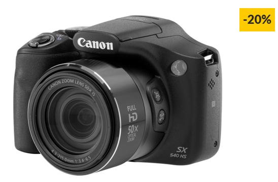 Máquina Fotográfica Bridge CANON Powershot SX540 HS (Preto – 20.3 MP – ISO: Auto até 3200 – Zoom Ótico: 50x)