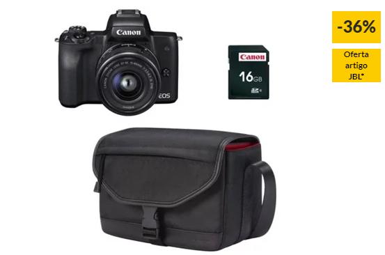 Kit Máquina Fotográfica Mirrorless CANON M50 + 15-45 mm (24.1 MP – Sensor: APS-C – ISO: 100 a 25600)