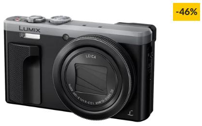 Máquina Fotográfica Compacta PANASONIC DMC-TZ80EG-S (Prateado – 18 MP – ISO: 80 a 6400 – Zoom Ótico: 30x)